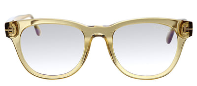 Tom Ford FT 5560B 045 Square Plastic Brown Eyeglasses with Light Brown Plastic Frame And Temple