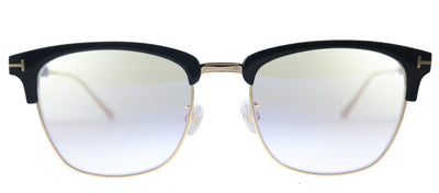 Tom Ford Browline FT 5590-F-B 001 Rectangle Plastic Shiny Black And Rose Gold Eyeglasses with Blue Block Lens
