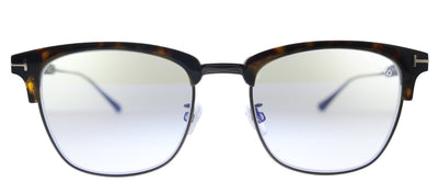 Tom Ford Browline FT 5590-F-B 052 Rectangle Plastic Shiny Dark Havana And Ruthenium Eyeglasses with Blue Block Lens