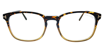 Tom Ford Blue Block FT 5605-B 056 Square Plastic Havana Eyeglasses with Demo Lens