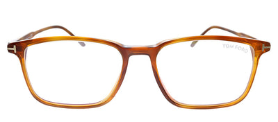 Tom Ford Blue Block FT 5607-B 053 Rectangle Plastic Tortoise Eyeglasses with Demo Lens