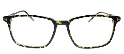 Tom Ford Blue Block FT 5607-B 056 Rectangle Plastic Havana Eyeglasses with Demo Lens