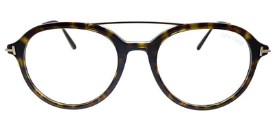 Tom Ford Blue Block FT 5609-B 052 Round Plastic Havana Eyeglasses with Demo Lens