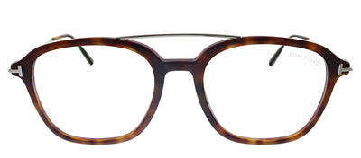 Tom Ford Blue Block FT 5610-B 056 Geometric Plastic Havana Eyeglasses with Demo Lens