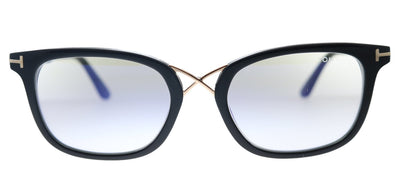 Tom Ford FT 5637-B 001 Rectangle Plastic Shiny Black And Rose Gold Eyeglasses with Blue Block Lens