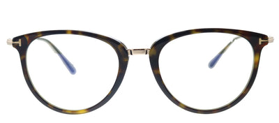 Tom Ford Soft FT 5640-B 052 Round Plastic Shiny Dark Havana And Gold Eyeglasses with Blue Block Lens