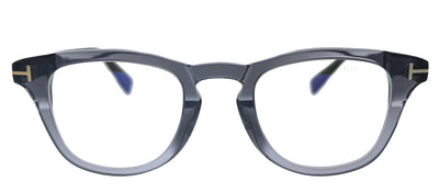 Tom Ford FT 5660-B 020 Round Plastic Shiny Transparent Grey Eyeglasses with Blue Block Lens