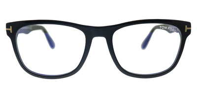 Tom Ford Soft FT 5662-B 001 Square Plastic Shiny Black Eyeglasses with Blue Block Lens