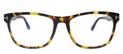 Tom Ford Soft FT 5662-B 056 Square Plastic Shiny Vintage Havana Eyeglasses with Blue Block Lens