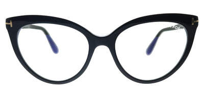 Tom Ford FT 5674-B 001 Cat-Eye Plastic Shiny Black Eyeglasses with Blue Block Lens