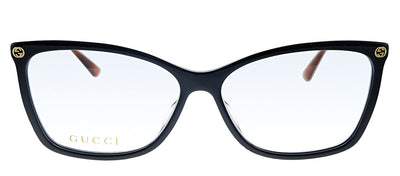 Gucci GG 0025O 010 Rectangle Plastic Black Eyeglasses with Demo Lens