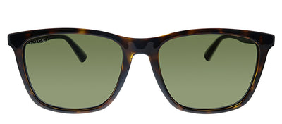 Gucci GG 0404S 003 Rectangle Plastic Havana Sunglasses with Green Lens