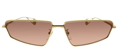 Gucci GG 0537S 002 Rectangle Metal Gold Sunglasses with Red Lens