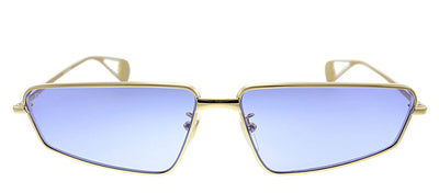 Gucci GG 0537S 006 Rectangle Metal Gold Sunglasses with Blue Lens