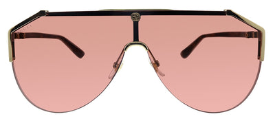 Gucci GG 0584S 003 Shield Metal Gold Sunglasses with Red Lens