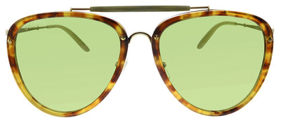 Gucci GG 0672S 003 Pilot Plastic Tortoise Sunglasses with Green Polarized Lens