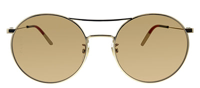 Gucci GG 0680S 003 Round Metal Gold Sunglasses with Brown Polarized Lens