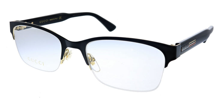 Gucci GG 0828O 001  Semi-Rimless Metal Black Eyeglasses with Demo Lens
