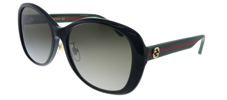 Gucci GG 0849SK 001 Butterfly Plastic Black Sunglasses with Brown Gradient Lens