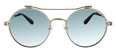 Givenchy GV 7079/S 06J EZ Round Metal Gold Sunglasses with Green Mirror Lens