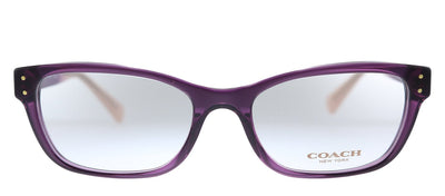 Coach HC 6082 5351 Rectangle Plastic Transparent Purple Eyeglasses with Demo Lens
