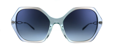 Coach C3345 HC 8315 56424L Geometric Plastic Transparent Blue Sunglasses with Blue Gradient Lens