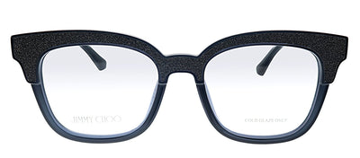 Jimmy Choo JC 176 18R Cat-Eye Plastic Silver Glitter And Black Eyeglasses with Demo Lens