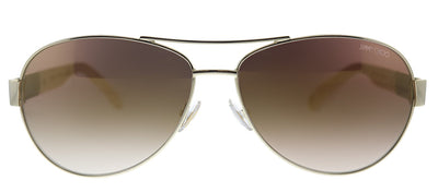 Jimmy Choo JC Baba/S 9D4 Aviator Metal Light Gold Sunglasses with Brown Mirror Lens