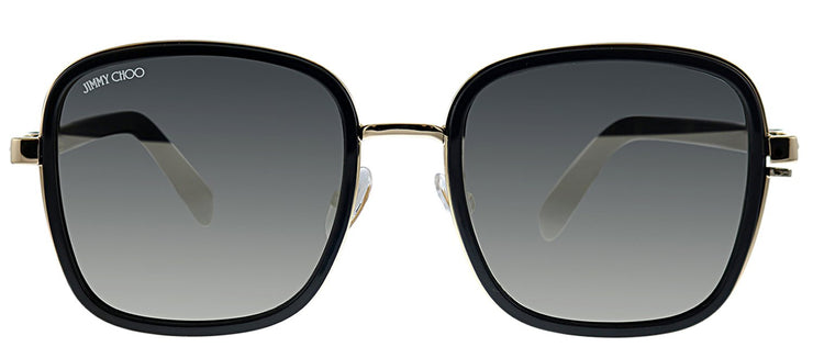 Jimmy Choo JC ELVA/S 2M2 T4 Square Plastic Gold Sunglasses with Silver Mirror Lens