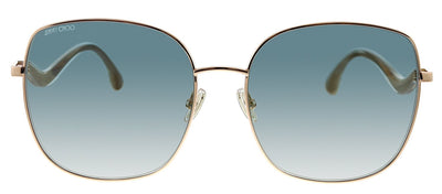 Jimmy Choo JC MAMIE/S DDB EZ Rectangle Metal Gold Sunglasses with Green Mirror Lens