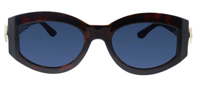 Jimmy Choo JC ROBYN/S 086 KU Oval Plastic Havana Sunglasses with Blue Lens