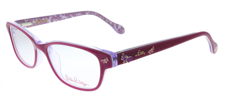 Lilly Pulitzer LP Sandrine FU Rectangle Plastic Pink Eyeglasses with Demo Lens