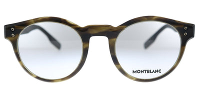 Mont Blanc MB 0123O 002 Round Plastic Brown Eyeglasses with Demo Lens