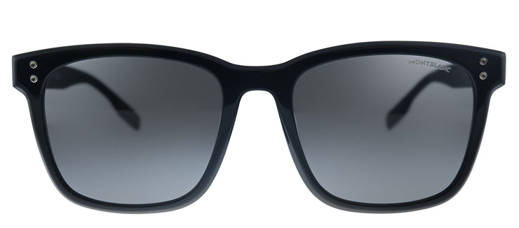 MontBlanc MB 138SK 001 Square Plastic Black Sunglasses with Grey Lens