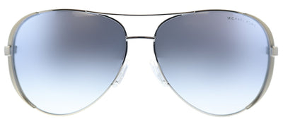 Michael Kors MK 5004 1153V6 Chelsea Aviator Metal Silver Sunglasses with Blue Gradient Mirror Lens