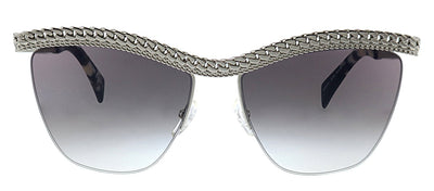 Moschino MOS 010S YL7 9O Cat-Eye Metal Silver Sunglasses with Grey Gradient Lens