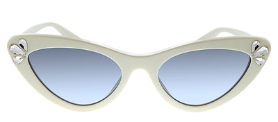Miu Miu MU 01VS 157169 Butterfly Plastic Ivory Sunglasses with Blue Gradient Lens