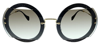Miu Miu MU 06SS 1AB0A7 Round Plastic Black Sunglasses with Grey Gradient Lens
