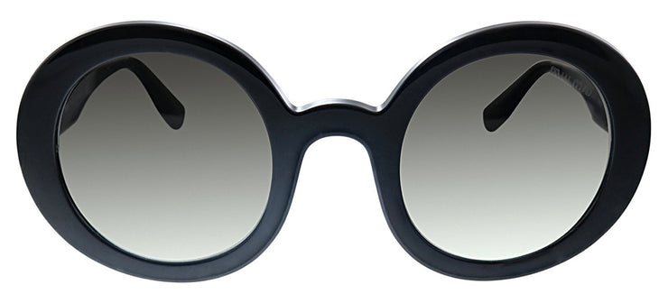 Miu Miu MU 06US 1AB0A7 Round Plastic Black Sunglasses with Grey Gradient Lens