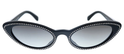 Miu Miu MU 09USA 1415O0 Cat-Eye Plastic Black Sunglasses with Grey Gradient Lens
