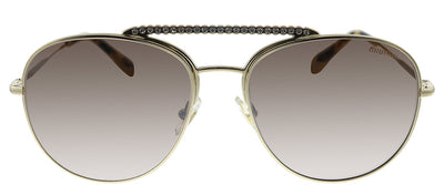 Miu Miu MU 53VS ZVNQZ9 Pilot Metal Gold Sunglasses with Brown Mirror Lens