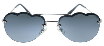 Miu Miu MU 56US 1BC175 Oval Metal Silver Sunglasses with Grey Lens