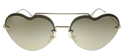 Miu Miu MU 62US ZVN1C0 Round Metal Gold Sunglasses with Brown Mirror Lens