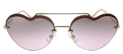 Miu Miu MU 62US ZVN7L1 Round Metal Gold Sunglasses with Pink Mirror Lens