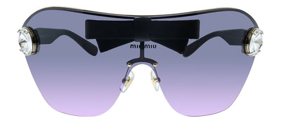 Miu Miu MU 68US 143153 Shield Metal Black Sunglasses with Purple Gradient Lens