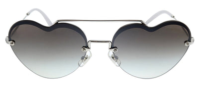 Miu Miu MU 69US 1BC5S0 Round Metal Silver Sunglasses with Grey Lens