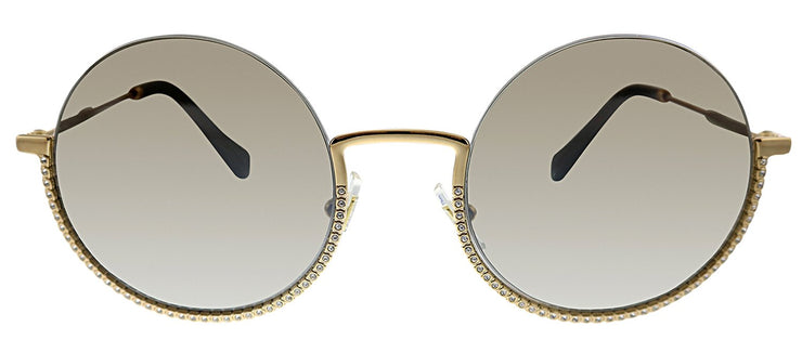 Miu Miu MU 69US 7OE5O0 Round Metal Gold Sunglasses with SIlver Mirror Lens