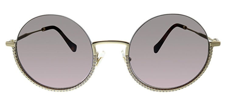Miu Miu MU 69US ZVN146 Round Metal Gold Sunglasses with Pink Gradient Lens