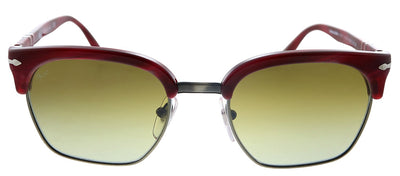 Persol PO 3199S 1112B2 Square Plastic Red Striped Sunglasses with Grey Gradient Lens