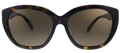 Prada PR 16XSF 2AU8C1 Oval Plastic Havana Sunglasses with Brown Lens